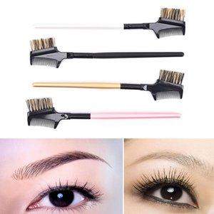 1pc poignée en bois + avancé Tube en aluminium + Pig Mane sourcils cils Extension double brosse peigne peigne métallique cosmétique Outil Maquillage