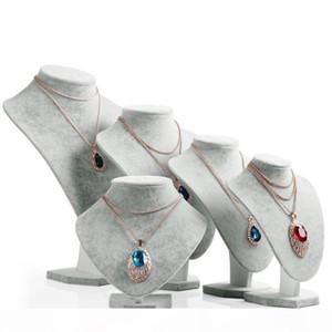 Grey Velvet Neck Shelf Models Necklace Pendant Holder Mannequin Bust Jewelry Display Storage Stand