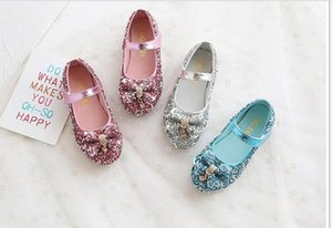 Girl's sequined leather shoes sweet bow princess shoes children's crystal single shoes