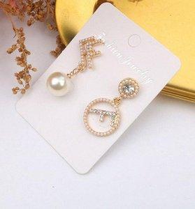 letras dobles FF Tipo de los pendientes de la marca de moda para damas estilo simple encanto de las mujeres pendientes de la manera redonda Carta pendientes regalo XWxX #
