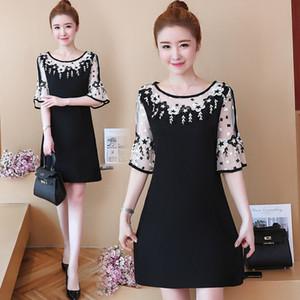 DROWYD 플러스 사이즈 여름 보헤미안 섹시한 미니 드레스 여성 2,020 캐주얼 블랙 O-목 5XL 느슨한 우아한 비치 클럽 파티 드레스 Vestidos