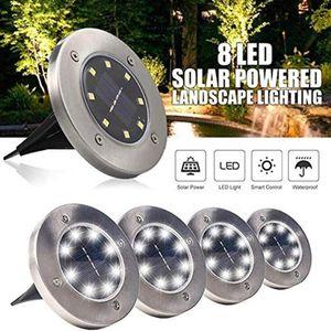 IP65 Waterproof 8 LED Solar Outdoor Ground Lamp Landscape Lawn Yard Stair Underground Buried Night Light Home Garden Decoration BWC3989