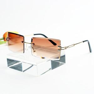 New frameless cut edge square sunglasses women fashion trend gradient beach leisure UV protection ladies sunglasses