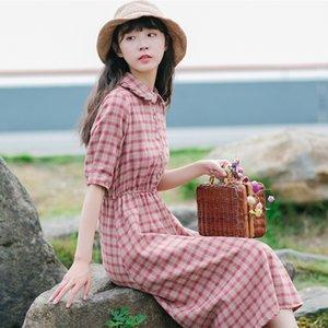 hFArR snODu 2020 verano nueva línea A- Doll Dress mitad de la longitud corta collar de la muñeca ropa de algodón manga vestir de tela escocesa de las mujeres del estilo de Corea A- línea D