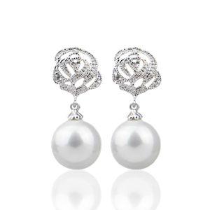 VE-14 zircone lega Rose imitazione Orecchini di perle per le donne Monili 2020 temperamento orecchini regalo