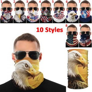 USA American Flag National Bird Print Magic Scarf Multifunctional Face Mask Outdoor Sports Wristband Anti-mosquito Dustproof Cap