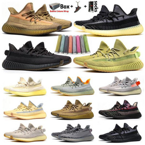 2020 Kanye West Men Women Running Shoes Zebra Cinder Tail Light Reflective ABEZ Linen Mens Trainers sneakers with Box