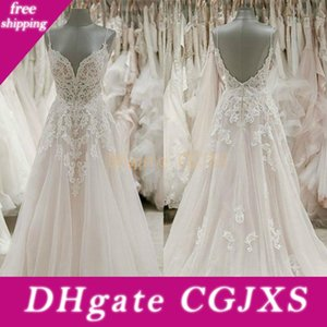 Gali Karten Beach Bohemian Wedding Dresses Spaghetti Neck Lace Tulle Sweep Train Bride Gowns Backless A Line Wedding Dress