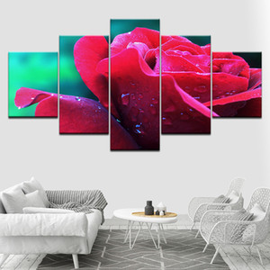 Pintura Sala Wall Art HD impresso moderno Poster Modular 5 Painel Rose Red Flowers Framework Pictures Home Decor Canvas