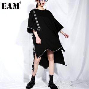 [EAM] 2020 New Spring Summer Round Neck Short Sleeve Black Big Size Letter Printed Irregular Hem Dress Women Fashion Tide JQ3260924