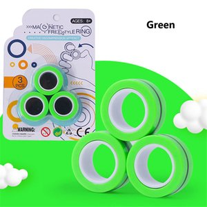 Magnetic Relief Anel Toy Anti-estresse Fingears Estresse Reliver Dedo Spinner Brinquedos Anéis para Adultos de Natal dos miúdos presentes 3pcs / set