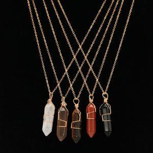 Природный камень Агат Креативного подвесок с золотой цепью Кристаллы Подвески Healing ожерелье Мода шестиугольной Колонка Туризм Аксессуары 5le B2