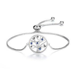 Adjustable Blue Cubic Zircon Cluster Heart Love Tree Box Chain Bracelet Bangle Fashion Party Jewelry Bijoux for Women