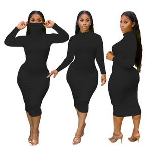 Femmes Turtle Col Robe Spring Automne Solide Solide Slim Fit Manches De Longues Robes Décontractées Famal Skinny Vêtements