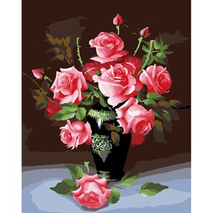 Creative Paint by Numbers for Beginners Beautiful Rose Oil Canvas Painting DIY for Home Decor