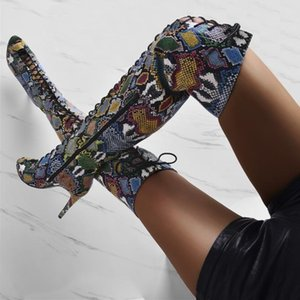 Pitone colorato sexy delle donne sopra il ginocchio stivali con tacco alto Peep Toe Lace-up stretta Sandali alti Stivali Scarpe Runway