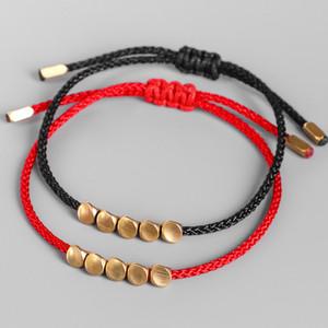 Handmade Tibetan Copper Bead Lucky Rope Bracelet & Bangles For Women Men Adjustable Wax Thread Bracelets