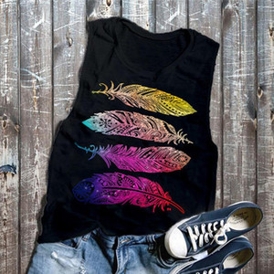 Tank tops Women Summer Women Feather Printed Round Neck Sleeveless Blouse Tank Top Vest Casual Vest Top O Neck Tank Female 2020