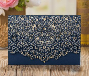 Envelopes Kit Laser Wedding Pcs lot Blue With Invitation Card Invitations Navy Cutting Party Cards 50 Birthday pp2006 EWIMm