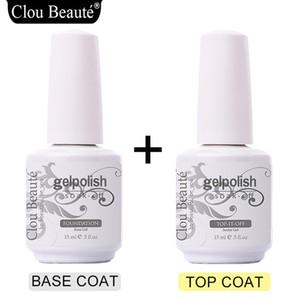 Clou Beaute chiodo del gel cappotto polacco UV 15ml Top base trasparente si impregna fuori dal polacco del gel Primer Long Lasting Lacquer Nail Art TB01