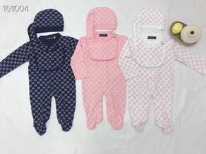 Малыш младенческая Ползунки Одежда для новорожденных Комплекты Мальчики полный рукав Мягкие решетчатые Комбинезоны ползунки Hat + Bib 3шт / набор костюм (3-24Months)