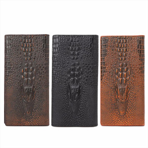 THINKTHENDO New Mens 3D Alligator Wallet Bifold ID Card Holder Purse Case Long Clutch Men Wallet Brand 3 Color