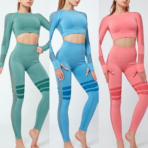 deportivos t8b1b Navel de manga larga de secado rápido apretado atractivo del estiramiento ropa de fitness camiseta de las mujeres de entrenamiento corto de manga larga de la yoga Top Coat T-
