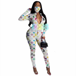 cross-border women's new autumn fashion high-end positioning printing jumpsuit with mask women UYP4