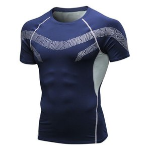 Men T-shirt Sports Tops Quick-drying Breathable Bottoming Round Short Sleeve