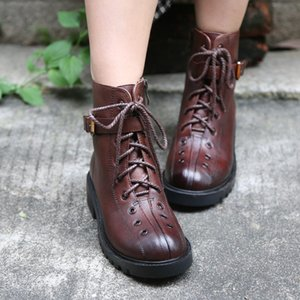 Original Fashion Women Boots Lace Up Genuine Leather Retro Buckle Martin Boots Round Toe Cross-tied Single Shoes
