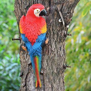 Harz Parrot Statue der Wand befestigter DIY Außen Garten-Dekoration Tier Skulptur-Verzierung