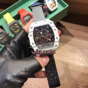 Top Version RM35-01 RAFA Skeleton Dial NTPT White Carbon Fiber White Case Japan NH Automatic 35-01 Mens Watch Gray Nylon Strap Sport Watches