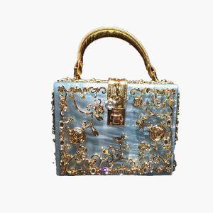 New- Crossbody Bag Diamond Metal Flower Handbags Flap Luxury Clutches Crystal Purse Wallet