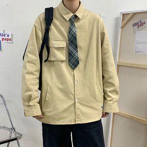 2020 Men's Solid Color Large Pocket Coats Washed Long Sleeve Hawaiian Shirt Camisa Social Masculina Streetwear Shirts M-5XL