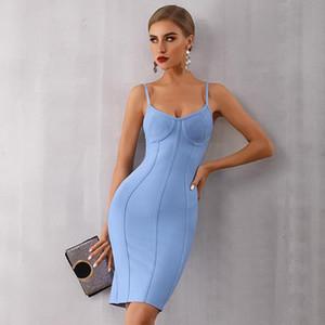 Womens Summer Celebrity récents Soirée moulante Bandage robe bleue sexy bretelles spaghetti Strap Club robe Hauts pour femmes