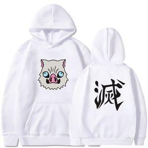 Latest Japanses Anime Costume Demon Slayer Kisatsutai Inosuke Boar Mask Printing Hoodies Harajuku Sweatshirt 200923