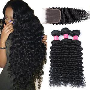PANEL VIRGEN BRASILANA DE OLA DE OFREZA DE OFORMA 3 Paquetes con cierre 8A Onda profunda brasileña con 4x4 Clousre Clousre Virgin Brasileño Human Hair Extensions