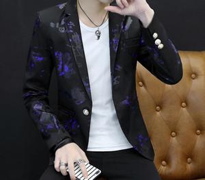 2018 Fashion Mens flower Printed Blazers Casual Slim Fit Prom Dress Blazer Men Black Floral Stage Wear Blazers Jacket for666