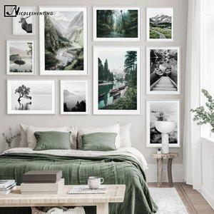 Paisaje escandinavo Negro Blanco cartel de la naturaleza nórdica Barco Mountain Lake Imprimir Pantalla pintura de pared Fotografía Imagen