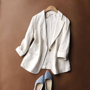 Pamuk ve Keten Erken Sonbahar Blazers Kadınlar İnce Katı Üç çeyrek Kol Coats Kadın 2020 Moda Basit Ofis Lady Elbise
