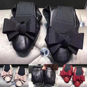 2020 New Fashion Trend Flat Shoes Sapato de bico fino Womens bowknot sapatos de lazer de alta qualidade da pele de carneiro dobráveis Ballet Shoes