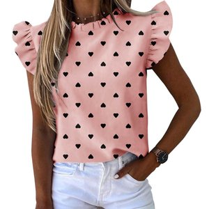 Collar Mulheres Blusas Verão Ruffle da luva das senhoras Rodada Tops listrado abacaxi Imprimir Blusas Moda feminina Shirts 050810