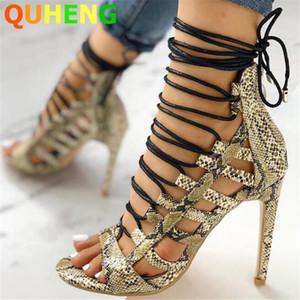 Verão Mulheres Sandals Moda Cross-amarrado cobra padrão Belas sapatos de salto alto Pointed Peep Toes Sexy High Heel Sandalias Mujer 2020