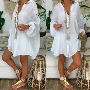 Kadınlar Mayolu Cover Up Female 2020 Yeni Gevşek Kadınlar Kapak Ups Mayo White Beach Elbise Pamuk Plaj Kimono coverups
