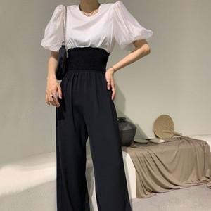 bwYe2 Z.A Damenbekleidung 20202 Sommer-T-Shirt der beiläufigen Hosen neues Rundhals Blase Hülse T-Shirt + hohe losen breites Bein der beiläufigen Hosen zwei-pie