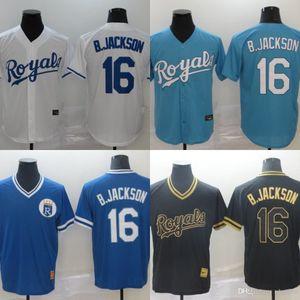2020 Kraliyetler Erkekler Forması # 16 Bo Jackson Ev Mavi Beyaz Gri Erkek Kadın Çocuk Beyzbol Formaları