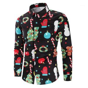 Risvolto maniche lunghe stampa floreale Festival Stile Homme Abbigliamento Natale camice del Mens di stile autunno Desinger