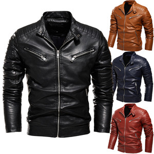 E-Baihui 2020 The New Solid Color Men's Simulation Leather Jacket, Multi-color Optional Plus Velvet Motorcycle Clothing 9903