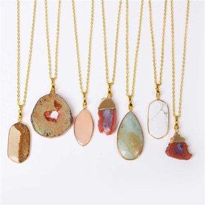 Collane pendenti Druzy Agates Collana per le donne Uomini Crystal Quartz Slice Charms Collar Brincos Catena in pietra naturale