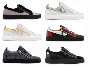 Giuseppe Zanotti casual shoes Italie marque baskets top bas en cuir noir pour les chaussures antidérapantes Casual épais de plat Hommes Femmes zipper chaussures formelles UP